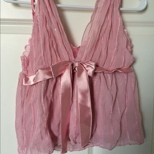 Tops - Sexy Boutique Pink Silky Lace Halter